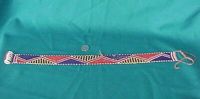 Antique / Vintage Belt Seed Glass Beaded Native American Woven w/Sea Shells