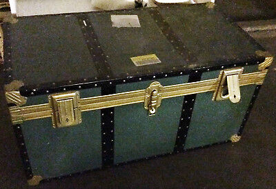 Two Antique Green Travel Storage Chest Black and Gold Trim Vintage Lot
