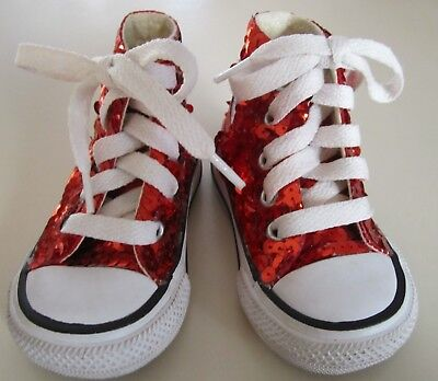 Infant / Baby's Red Sequin Converse Chuck Taylor Sneakers Size 3