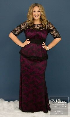 a5257ad6a5b ASTORIA LACE PEPLUM GOWN BY KIYONNA DRESS BLACK on White size 0X 12 ...