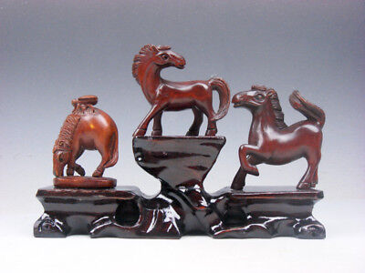 3 Japanese Boxwood Hand Carved *Horse* Netsuke w/ Wooden Stand #01041917