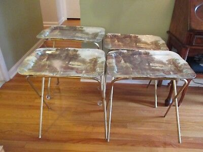 Set of 4 Vintage MCM Metal TV Trays tables with Rolling Rack Countryside As Is
