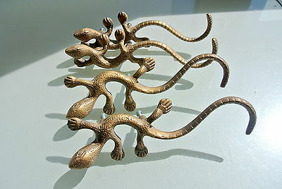 "4 large GECKO handles pulls cast solid BRASS  8"" KNOBS doors antiques houses B"