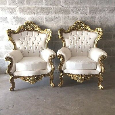 Antique Pair Of Two Chairs In Italian Rococo Style