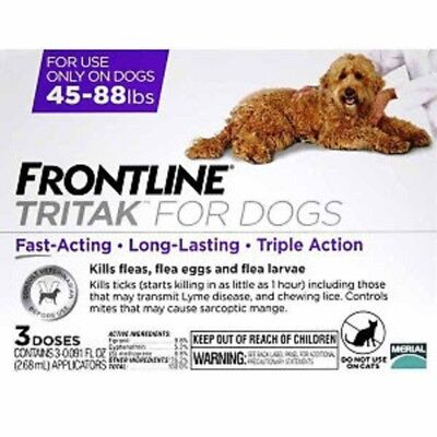 NEW Frontline Tritak for Dogs and Puppies Red 45-88lbs 3 Month Flea Control