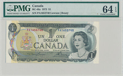 BANK OF CANADA 1 DOLLAR 1973 BC-46a PA1653740 - PMG 64 CHOICE UNC EPQ