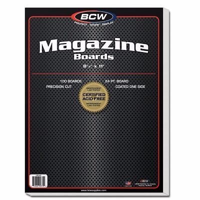 100 Boards BCW Regular Size Magazine Bag Sleeve Back Only Acid Free Protect Lot