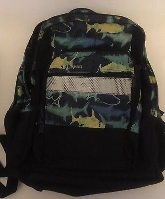 25da8b16612c LL Bean Shark Print Backpack Back Pack School Bag Reflective Trim Travel
