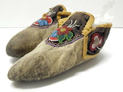 """Antique Vintage Chippewa / Ojibway Beaded Moccasins - Clsc Center Seam 7.25"""""""