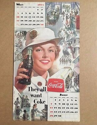 1953 Coca Cola May June Calendar Page They All Want Coke !!!