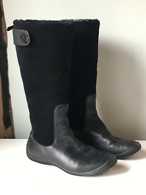 4543b6b227450 Cole Haan Women's Black Suede Tall Waterproof Boots Shoes 8.5 Warm Interior