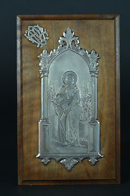 Rare French Antique 1894 religious frame / stand St Magdalene /  gothic style