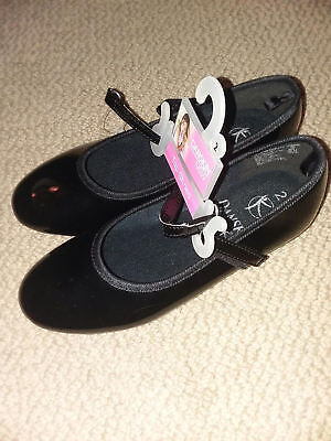 DANSKIN NOW TAP SHOES GIRLS YOUTH SIZE 2 NEW BLACK dance