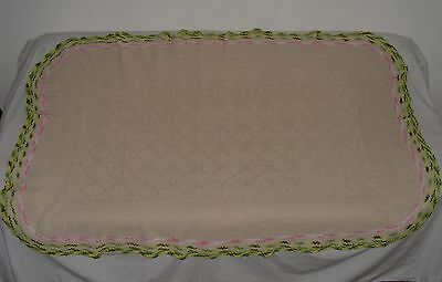 """ORNATE VINTAGE 100% COTTON HAND CROCHET OVAL TABLE CLOTH  44 1/2"""" x 68"""""""
