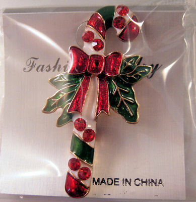 Christmas Candy Cane Brooch Pin (Still in Original Package) Rhinestones Enamel