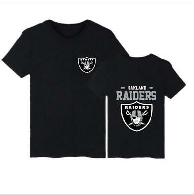 Man'sT-shirt Oakland Raiders printed Short Sleeve t-shirt Black t-shirt S-5XL