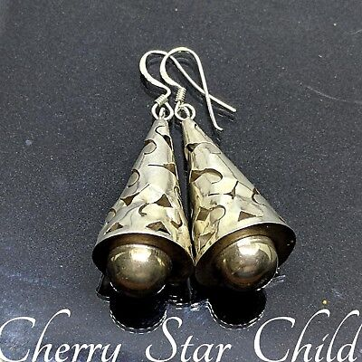 Solid sterling 925 silver large teardrop cut out earrings drop dangle