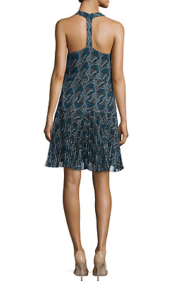 e3f6dd7613c Derek Lam 10 Crosby Charcoal silk Pleated skirt dress sz 10 T back blue  printed
