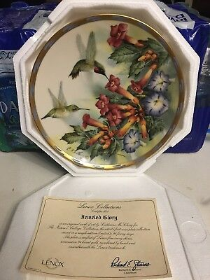 "LENOX FINE PORCELAIN China ""Jeweled Glory"" Collectible HUMMINGBIRD Plate"