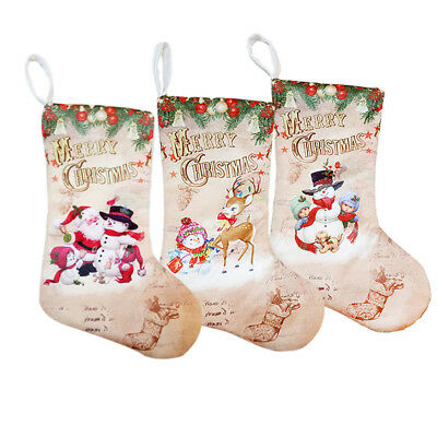 Embroidered Nordic Knitted Xmas Stocking Sack Christmas Hanging DIY