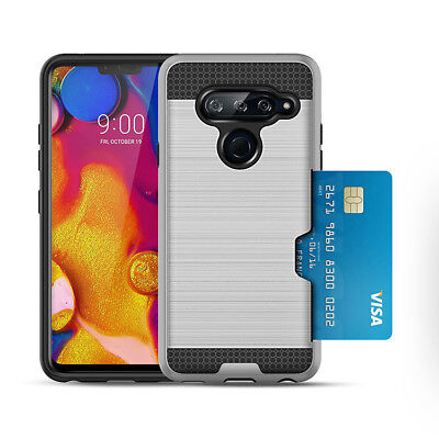 Hybrid Brushed Armor Case Back Shockproof Cover Card Slot For LG K10 G7 V40 2018