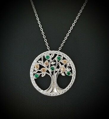 925 Sterling Silver Green Emerald & Morganite Tree Of Life Pendant Necklace