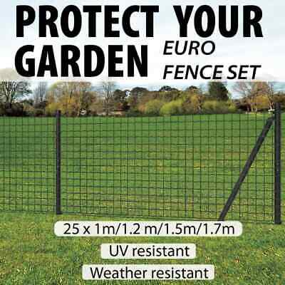 vidaXL Euro Fence Set Steel Grey with Post Farm Wire Mesh Panel Multi Sizes