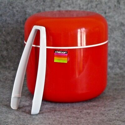 Decor Brand 'Icicle' Ice Bucket & Tongs by Tony Wolfenden in Red c.1970s