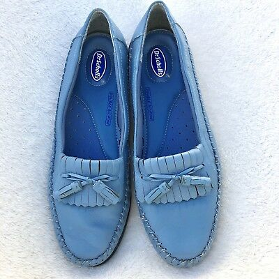 de22fc56277 DR SCHOLLS WOMENS Blue Leather Moccasin Kilted Tassel Loafers Air ...