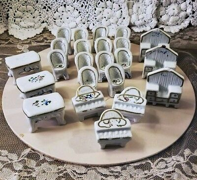 Lot of 23 Vintage Porcelain Ceramic Doll House Furniture Floral Made in Japan