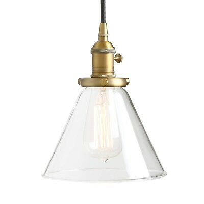 Permo Industrial Vintage Pendant light with Funnel Flared Glass Clear Gla... New