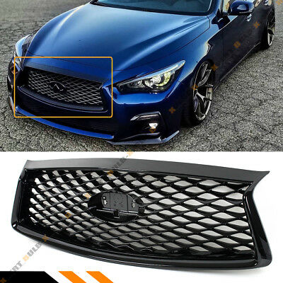 For 2018-19 Infiniti Q50 Jdm Glossy Black Front Bumper Upper Grille Replacement