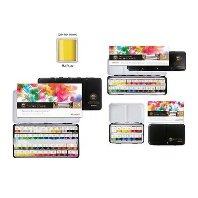 MUNGYO Professional Watercolor Half Pan Set Solid MWPH-12, 24, 48Count Tin Case