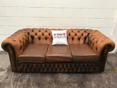 SUPERIOR ORANGE BROWN Leather 3 Seater Chesterfield Sofa DELIVERY ...