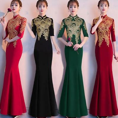Chinese Style Women Long Slim Ladies Evening Party Cocktail Fishtail Dress Ske15