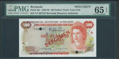 1982-86 Bermuda Specimen 100 Dollars  Pmg 65  Epq  Pick # 33S Please Lqqk!!*