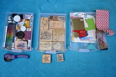ASSORTED Scrapbooking items -Wooden Christmas art craft stamps-Stamp Pads- Paper