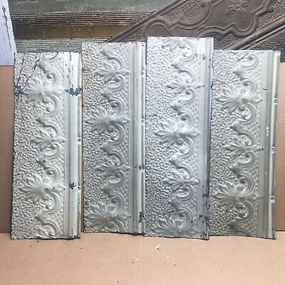 """4pc Lot of 16"""" by 7"""" Antique Ceiling Tin Vintage Reclaimed Salvage Art Craft"""