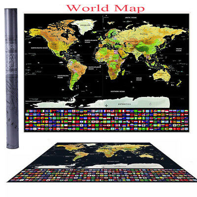 Personalized Travel Atlas Poster w/Country Flags Scratch Off Journal World Map