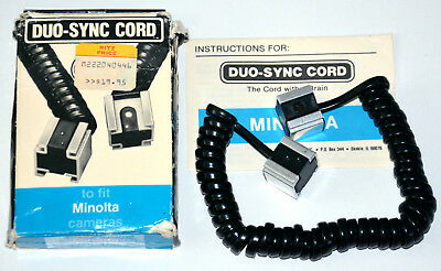 Vintage Minolta Camera flash DUO-SYNC CORD with box and manual