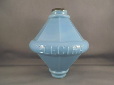 Old Antique Lightning Rod Ball Blue Milk Glass Electra Pattern
