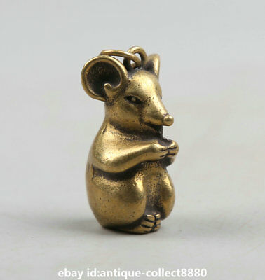 """1.3"""" Collection Curio China Bronze Twelve Zodiac Year Animal Mouse Small Pendant"""