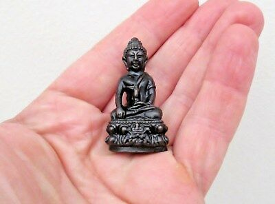 Antique Bronze Miniature Chinese Seated Buddha - Travelling Pocket Icon