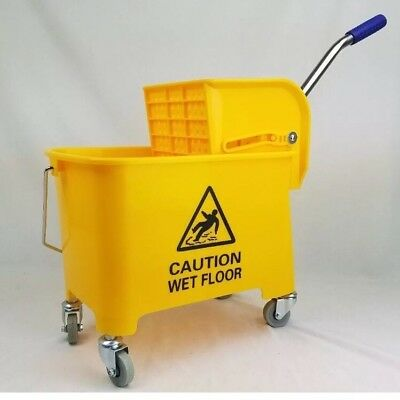 Yellow Miniature Compact Mop Bucket w/ Ringer - 26 Qt Lightweight