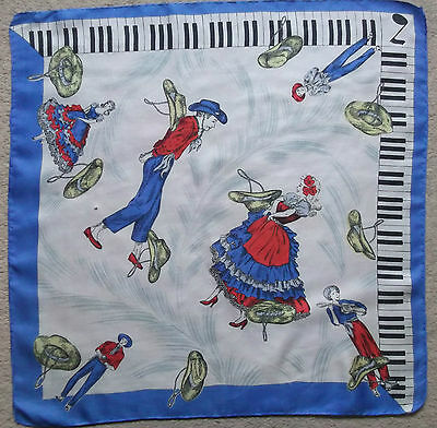 Vintage Handkerchief SILK Hankie Mens Top Pocket Square MUSIC SPANISH DANCERS