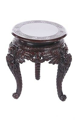 Late C19th Chinese carved hardwood stand