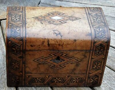 Rare Antique Victorian wooden Two Division Tea caddy  box inlaid