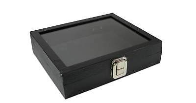 Black GLASS Top Wooden Jewelry Box Display Case Ring Watch Organizer w Insert
