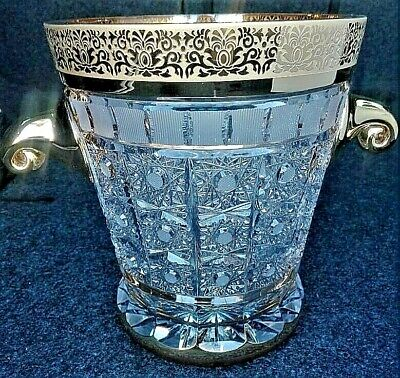 Czech bohemia crystal cut glass - Luxury Ice Bowl 21cm decorated gold and engra