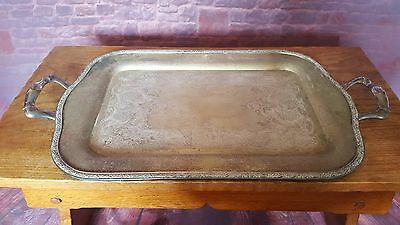 Antique Vintage Silver Plated Copper Servant Serving Tray Handle Kitchen Party